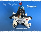 Black Tri Color Basset Hound Angel Dog Christmas Holidays Bone Ornament Sally's Bits of Clay PERSONALIZED FREE with dog's name