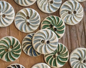 FREE SHIPPING Set of 20 Handmade Ceramic Buttons