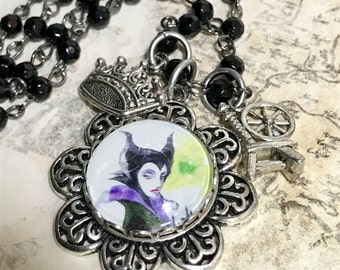 Maleficent,  Fairytale Altered art  Charm Necklace,   Glass dome pendant, handmade, OOAK, Bostoncharm, rosary chain necklace