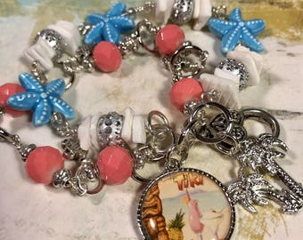 Tiki Beach, Vacation, Double Strand hand beaded Charm  bracelet , Art charm, vintage Beach, by Bostoncharm