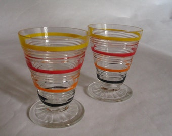 Set of Vintage Pressed Glass Striped Liqueur Cordial Glasses