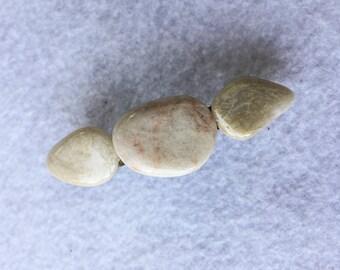 Tumbled Polished Quartz Rocks Barrette - Hair Accessory - Tumbled Stones - Wedding Accessory - Summer Hair Style - French Barrette Hair Clip
