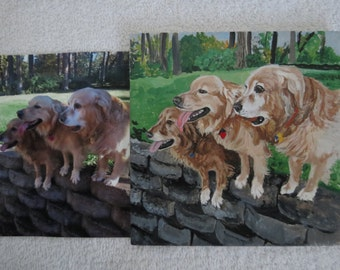 Hand Painted Pet Portrait 6 x 6 inch Ceramic Tiles and Made to Order by Shannon Ivins