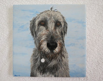 Happy Soul Irish Wolfhound Hand Painted Pet Portrait 6 x 6 inch Ceramic Tiles and Made to Order by Shannon Ivins