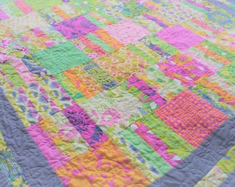 Amelia's Wildwood Garden Lap or Throw Quilt  Modern Decor - Patchwork Quilt - READY TO SHIP