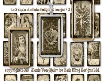 1 X 2, Antique Religious Images #2 ,  INSTANT DOWNLOAD, religious collage sheets, Catholic pendants, sepia collage sheets,Catholic images