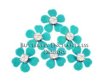 Flower Hair Pins, Bridal Hair Flowers, Wedding Hair Accessories, Floral Bridesmaid Headpiece - 12 Turquoise Remi Mini Plum Blossom Hairpins