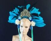 Blue Mermaid Feather Carnival Festival Head Dress Statement Head Piece Flower Showgirl