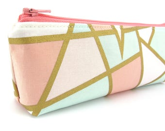 Mint Pink and Gold Pencil Case - Pencil Pouch - Zip Pouch - Small Bag - Zipper Pouch - Planner Pencil Case Organiser