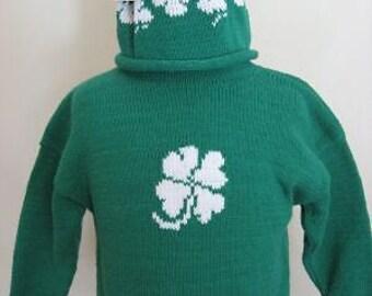 ST. Patrick's day shamrock 4 leaf clover rollneck pullover child sweater green infant sweater & hat set size 4