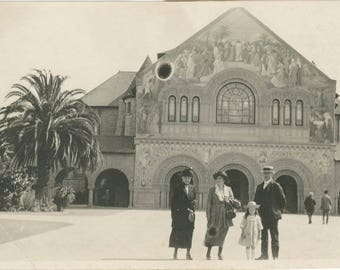 Vintage Snapshot 1917 Family Pose in Front of Mission Church Stanford Univeristy