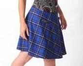 Royal blue plaid skirt, Short flared bright blue skirt, Womens blue tartan skirt, Womens skirts, Womens clothing, MALAM, Sz UK12-14