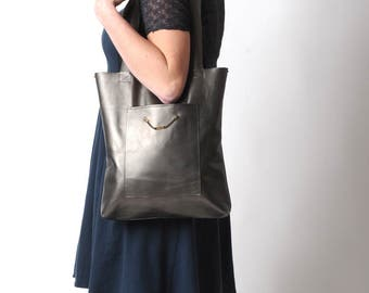 Leather tote bag, Bronze shopping bag, with two pockets, Womens bronze leather tote, Womens gift idea, Handmade leather bag, MALAM