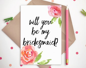 Printable Bridesmaid Ask Card - Will You Be My Bridesmaid? - Wedding Stationery - INSTANT DOWNLOAD