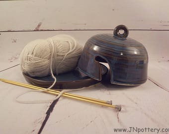 Yarn Bell and Plate - Covered Yarn Ball Holder - Knitting Accessory - Handmade Ceramic - Yarn Crafter Gift - Marble Brown Blue  v630