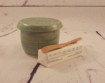 Handmade Butter Keeper - Stoneware French Style Butter Crock - Ceramic Butter Dish - Store and Serve - Ready to Ship - Celadon Green s514