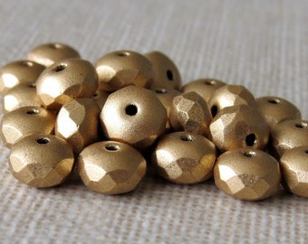 Czech Glass Bead 4x7mm Faceted  Matte Metallic Gold Rondelle : Full Strand 25 pc Matte Flax Rondelle