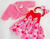 """CHOICE Valentine  Dress & Coat For AG 14"""" Doll Wellie Wishers YoSd Kay Wiggs Little Fee Ginny Betsy McCall Ann Estelle Doll Clothes"""