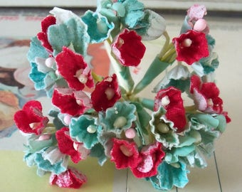 Forget Me Nots / Vintage Millinery / Christmas / Red and Green / One Small Bouquet