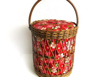 Vintage Wicker Sewing Basket, Knitting or Craft Storage, Floral Sewing Box, AW Evrard, Mod Flower Power Fabric, Toy Box,