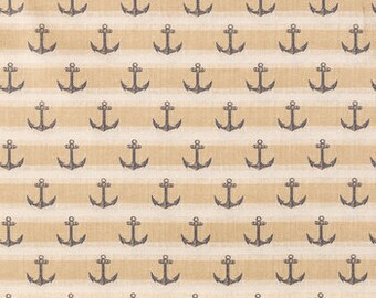 ANCHORS BLUE TAUPE Striped Fabric,  Yardage Fabric by the half or full yard,  nautical, quilting fabric, apparel fabric,  cotton