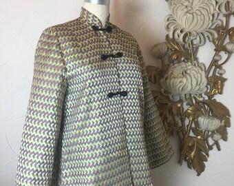 1940s jacket asian style jacket 40s jacket size medium mandarin jacket brocade jacket Meenan jacket