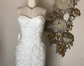 Fall sale 1980s dress cocktail dress sequin dress size small ivory dress strapless dress prom dress 80s dress