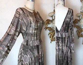 Fall sale 1990s dress tie dyed dress vintage dress size medium bell sleeve dress backless dress 28 waist fyll skirt dress jersey dress