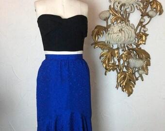 Fall sale 1980s skirt blue skirt mermaid skirt 27 waist wiggle skirt vintage skirt size medium secretary skirt