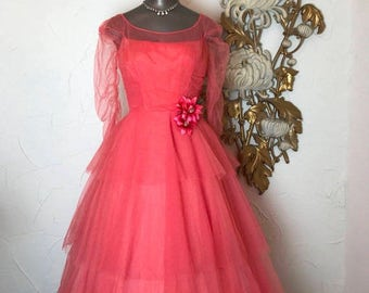 1950s dress coral dress vintage dress tulle dress party dress size small harry keiser tea length dress