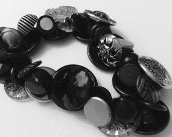 VINTAGE buttons black BUTTON statement necklace
