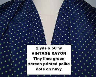 Vintage RAYON FABRIC Polka dot fabric navy rayon dress fabric