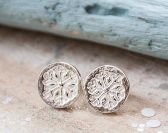 Silver Snowflake Earrings, Stud Snowflake earrings, Christmas earrings, stocking filler, Christmas present for her, snow, winter wedding