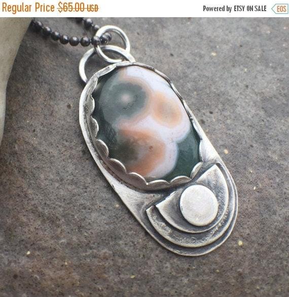 25% Off - Sterling Silver Ocean Jasper Bold Necklace