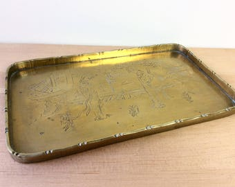 Vintage Brass Tray, Chinese Garden Scene. Small Rectangular Brass Tray. Vanity Tray. Gold Decor.