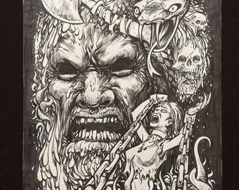Horror original ink drawing