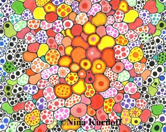 Original Art Drawing Abstract nature Warm Colors organic artwork wall decor