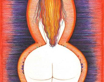 ORIGINAL Bedroom Art Modern drawing Erotic artistic Nude Woman Female Redhead wall decor artwork