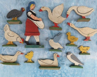 Vintage Wooden Barnyard Figures Ducks Chickens Birds Geese