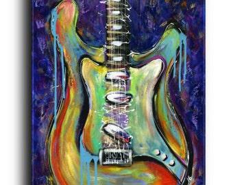 24x36x1.4 Original Painting Stratocaster Guitar Instrument Music Rocker Art Acrylic Modern Contemporary Valentine Gift Elena