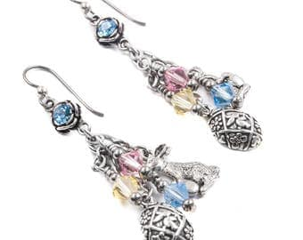 Easter Rabbit Earrings with sterling silver Egg, Easter Bunny Charm and Crystals in Pink, Yellow and Blue