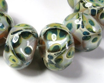 Lampwork Boro Beads, Lampwork Beads,  BBGLASSART, Artisan Glass Beads, Mossy Trail