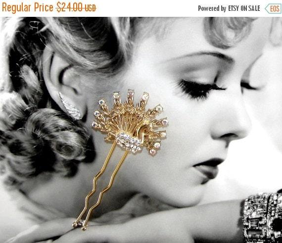 20% SALE Peacock Rhinestone Hair Comb Aurora Borealis Bird Formal Wedding Accessory Gold Bridal Headpiece Vintage Costume Jewelry AB Hairpie