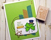 Cute You are my Lucky Charm Four Leaf Clover Fancy Greeting Card Handmade in Green Gold for St Patricks Day Irish St Paddys Day March 17