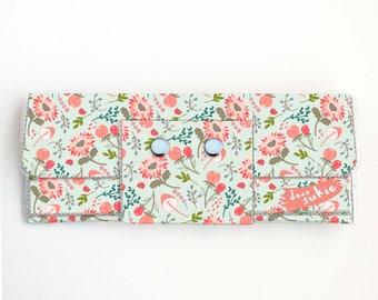 Vinyl Long Wallet - Springtime Flora / floral, pink, vegan, pretty, large wallet, clutch, card case, vinyl wallet, big, woman, mint, summer