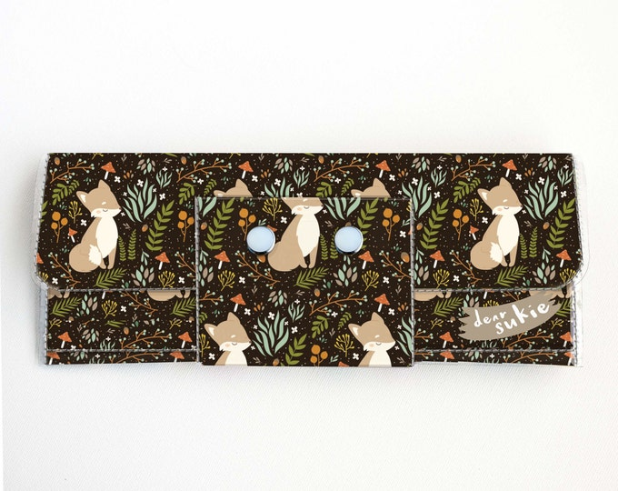 Vinyl Long Wallet - Forest Fox 1/ woodland, vegan, large wallet, clutch, card case, vinyl wallet, handmade, foxes, woodland animals, cute