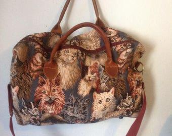 Vintage Cat Bag Tapestry luggage Large Duffle Bag