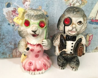 FREE WORLDWIDE SHIPPING Very Rare Rockabilly Retro Poodle Dog Couple Vintage Salt and Pepper Shakers Antique Collectibles or Cake Toppers