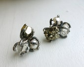 Geological Three Stone Cluster Studs- Pyrite, Pearl and Herkimer Diamonds