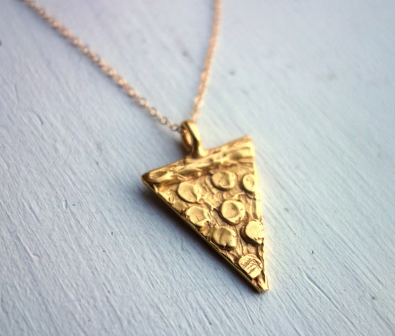Hand Carved Pepperoni Pizza Slice Necklace - in Sterling and 18k Gold Plate